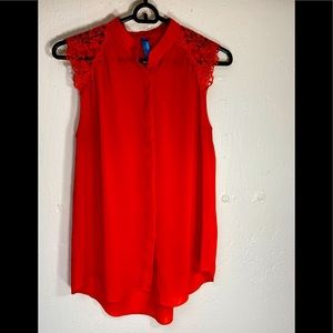 Buttons Beautiful Red Blouse Womens SZ Small EUC